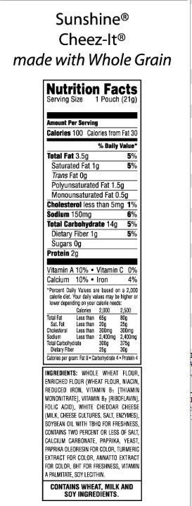 Hnutrition Ritz Crackers Label